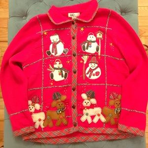 Sweaters - Embroidered Christmas cardigan! Ugly sweater party